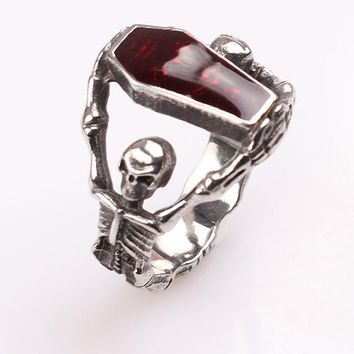 High Quality Steampunk Biker Skull blood Red rhinestone Rings of The Vampire Diaries Men and Women Jewelry