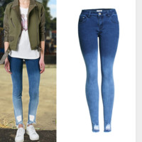 Autumn new jeans repair a hole gradually change color to look thin female gradient jeans