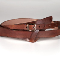 Leather Wrap Belt,  Hancrafted Leather Belt, Wide Leather Belt, Brown Leather Belt