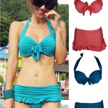 Women's Sexy Push Up Padded Bowknot Halter Bikini Swimwear Swimsuit = 1956878404