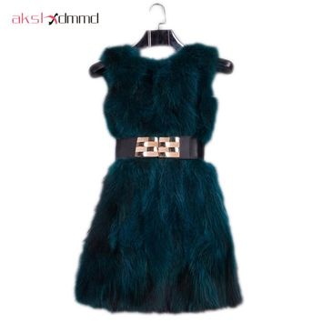 AKSLXDMMD Natural Real Fur Vest New Shine Colors 2017 Winter Mid-long Thick Women Real Fox Fur Raccoon Vest Jacket Coats LH600