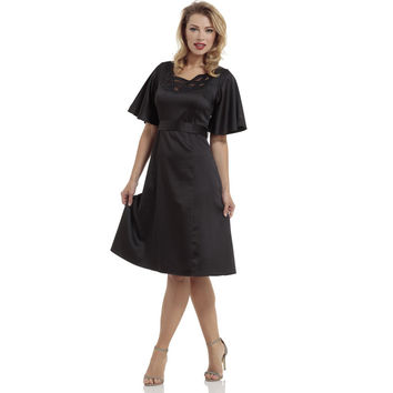 Voodoo Vixen Black Satin Cape Flare Dress