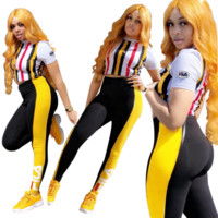 FILA Women Sports suit T-shirt Leggings 2 piece set tracksuit Crop Top pant sportswear Striped outfits sweatsuit summer clothing