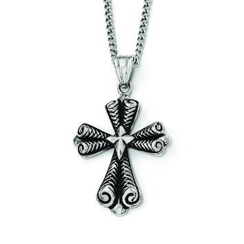 Stainless Steel Antiqued Cross Necklace SRN1928