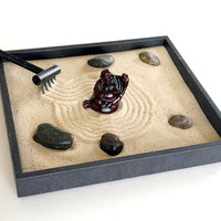 Zen Garden with Buddha Statue Buddha Decor Tray - Buddha Figurine Office Desk Accessories Buddha Gifts Meditation Anxiety Relief Relaxation