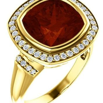 14K Yellow Gold Cushion Cut Garnet & Diamond Ring - Size 7