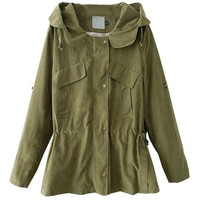 Hooded Long Coat with Drawstring Waist