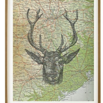 Deer Head, Art, Print, Colorado Map, Texas Map, Antlers, 8x10