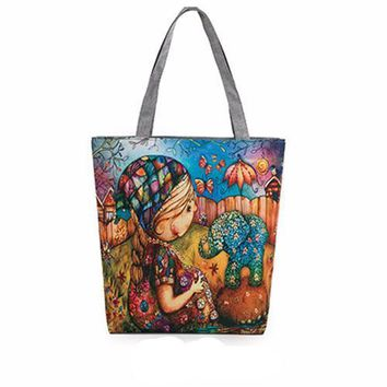 Canvas Painted Wallpaper Tote Beach Bags