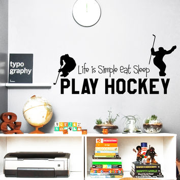 Wall Decal Quotes Sports Play Hockey Game Washer Ice Hockey Design Vinyl Decals Gym Playroom Living Room Bedroom Home Decor Art Mural 3801
