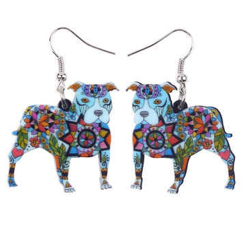 Colorfully Painted Acrylic Dangle Drop Pit Bull Dog Earrings  FREE SHIPPING
