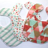 Baby Bib Set - Modern Baby Bib Set - Pink and Mint Aztec Set - Aztec, Stripes, and Polka Dot Bib Set - White Minky - Handmade Baby