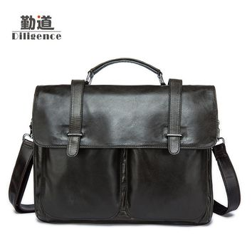 Men's Genuine Leather Handbags Vintage Totes Fashion Bolsa Feminina Laptop Crossbody Bags Clutch Shoulder Messenger Bags