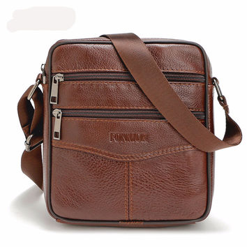 Brand Genuine Leather bag Vintage Designer Men Crossbody bags Cowhide leather small messenger bag for man - Bolsa para Hombres