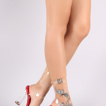 Transparent Trio Ankle Strap Chunky Lucite Heel