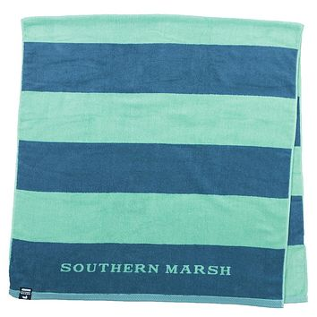 Stripes Beach Towel in Navy & Mint by Southern Marsh
