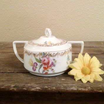 Vintage Rosenthal Selb Bavaria Empire Sugar Bowl, Floral China Sugar Bowl