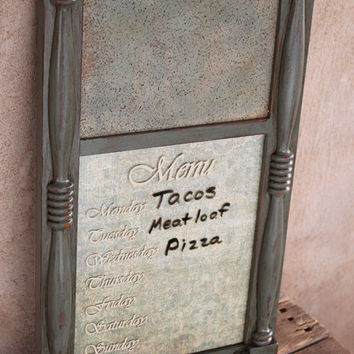 DRY ERASE/CORK Menu Board Vintage Distressed Dusty Turquoise Wood Chippy Painted Ornate Rustic Western Ranch Lodge Cabin Shabby Chic Cottage
