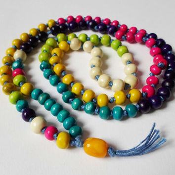 Colorful Rainbow 108 Mala Necklace, Wood beads mala Japa Meditation, Hindu Buddhist tibetian Mala, Yoga Necklase, Meditation Healing Jewelry