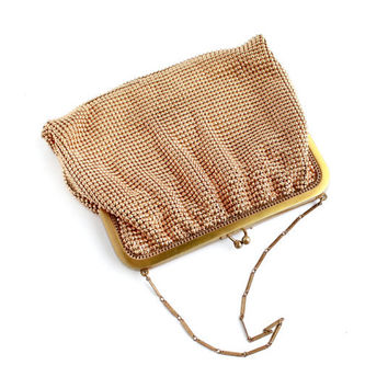 Vintage Whiting & Davis Gold Tone Mesh Purse - Art Deco 1930s Small Elegant Fashion Change Bag / Gilded Designer Fashion