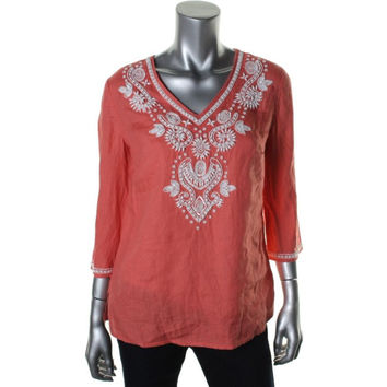 Charter Club Womens Petites Linen Beaded Pullover Top