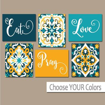 EAT PRAY LOVE Kitchen Wall Art, Kitchen Canvas or Prints Dining Room Decor, Kitchen Decor, Talavera Pictures, Set of 6 Home Decor Pictures