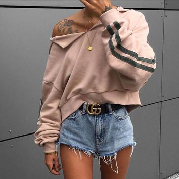 Women Loose Casual Stripe Long Sleeve Bat Sleeve Hooded Sweater Short Tops