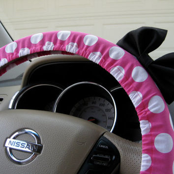 Steering Wheel Cover Bow - The Original Large Hot Pink and White Polka Dot Steering Wheel Cover with Black Bow