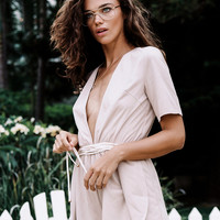 Suede Plunge Playsuit - Playsuits by Sabo Luxe