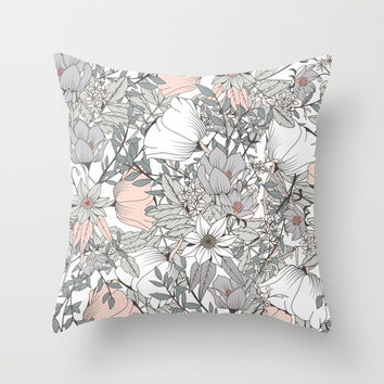 Gray and Pink Floral Pattern Throw Pillow by The Ophelia