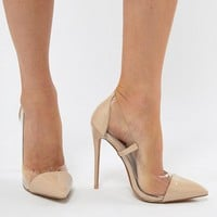 PrettyLittleThing Clear Pointed Heeled Court Shoes at asos.com