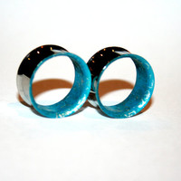 Turquoise and silver splash-Stainless steel gauges- Ears plugs-Double flare-Free shipping for US and Canada