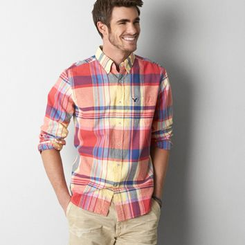 AEO MADRAS PLAID BUTTON DOWN SHIRT