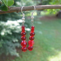 Red Drop Earrings - Handmade Jewelry