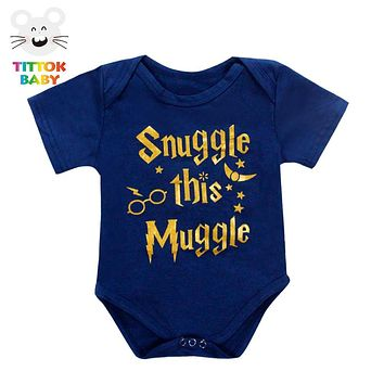 Funny Newborn Infant Clothes Snuggle This Muggle Letter Print White Short Sleeves Tiny Cottons Baby Bodysuits Baby Onesuit 0-18M