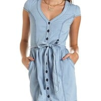 Cap Sleeve Denim Shirt Dress: Charlotte Russe