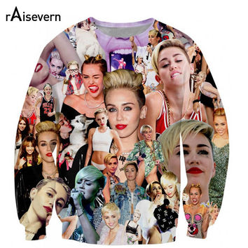 BOW! Creative Miley Cyrus Full Print Sweatshirt Unique Style Beautiful Streetwear O-neck Long-sleeve Hoodie Sweats Dropshipping