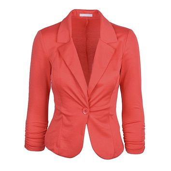 SYB 2016 NEW Womens Blazer Jacket Long Sleeve Candy Button Coral