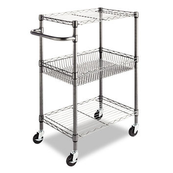 3-Tier Metal Kitchen Cart / Utility Cart With Adjustable Shelves & Casters