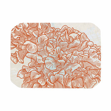 "Sam Posnick ""Lettuce Coral"" Orange Beige Place Mat"