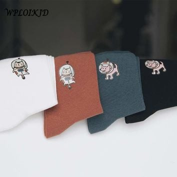 [WPLOIKJD]Art Abstract Oil Painting Harajuku Femme Funny Socks Animals Universe Japanese Women Socks Creative Calcetines Sokken