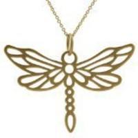 24k Gold-plated Large Cut-out Dragonfly Necklace | SilverBin