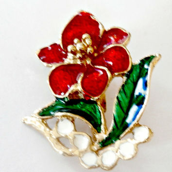 Vintage red gold and green enamel flower brooch retro antique flower fashion pin