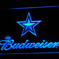 b274 Dallas Cowboys Budweiser Bar LED Neon Sign with On/Off Switch 7 Colors to choose