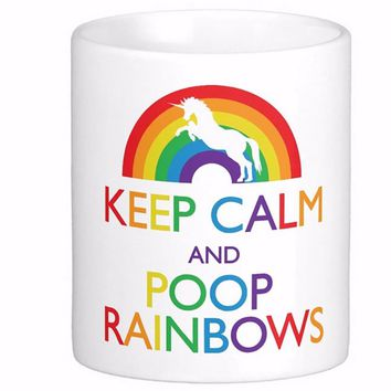 'Keep Calm And Poop Rainbows' Unicorn Coffee Mug - Limited Edition