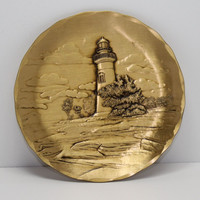 Bronze Marblehead Lighthouse Landscape Plate by Wendell August Forge