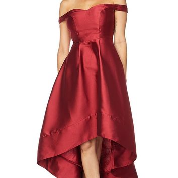 Coming Out Burgundy Satin Short Sleeve Off The Shoulder Sweetheart Neck High Low A Line Midi Dress