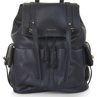 Large PU Backpack - Navy Blue