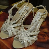 Bridal Shoes in Diamond White Straps decorated with by NewBrideCo