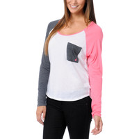 Volcom Pocket Block White, Pink & Grey Raglan Shirt at Zumiez : PDP